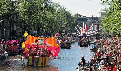 The Gay Pride canal parade Amsterdam